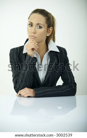 Beautiful business woman during daily office routines