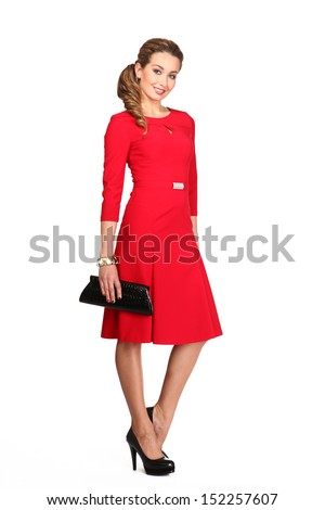 Beautiful Business Woman Fashion Dark Hair Model in red dress isolated on white