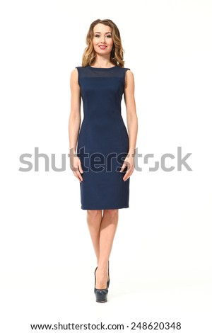 beautiful business woman fashion model in summer sleeveless office blue dress - stock photo