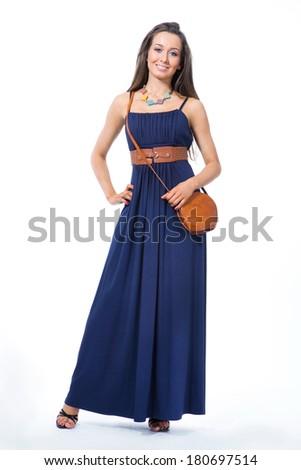 Beautiful Business Woman  Fashion Model  isolated on white  - stock photo