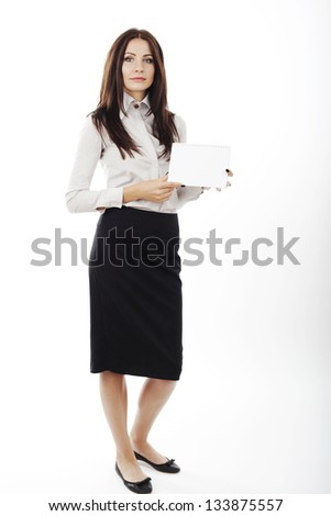 beautiful business woman holding a blank card in her hands on white background.