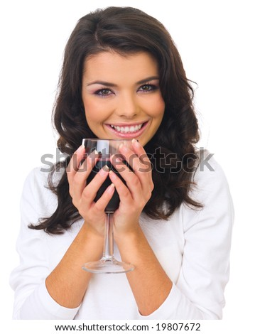 Beautiful business woman holding glass with red wine