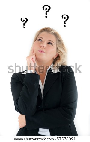 beautiful business woman in a suit having trouble and questions. white background - stock photo