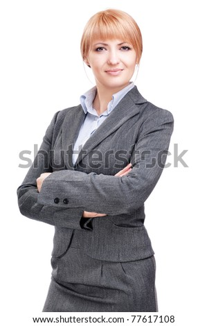 Beautiful business woman in a white studio
