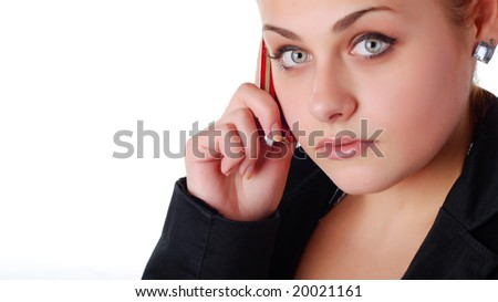 beautiful business woman in black jacket with mobile phone