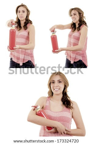 Beautiful Business woman in holding fire extinguisher - stock photo