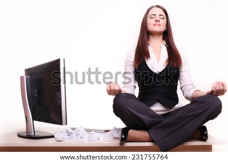 Beautiful business woman is dreaming in his office