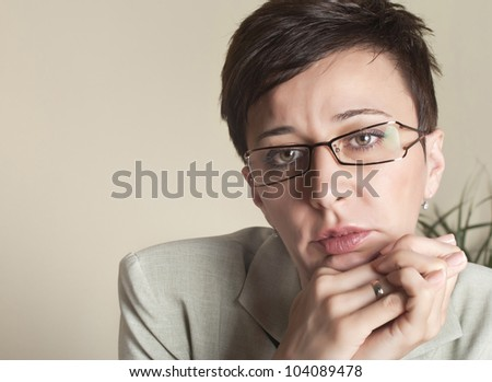 beautiful business woman looking at camera
