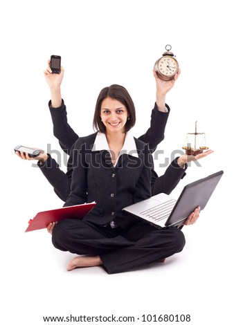 Beautiful business woman looking confident with six arms - stock photo