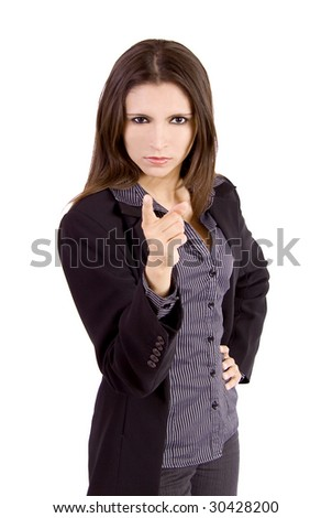 Beautiful business woman pointing at the camera