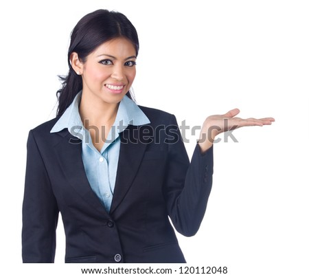 Beautiful business woman showing blank area for sign or copyspase, isolated over white background