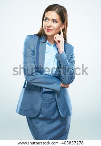 Beautiful business woman smile. Isolated portrait. Studio isolated background. Business suit.