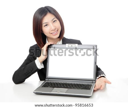 beautiful business woman smile showing laptop with blank screen isolated on white background, model is a asian beauty - stock photo