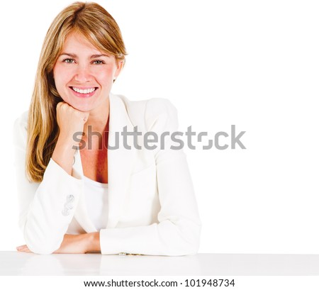 Beautiful business woman smiling - isolated over a white background - stock photo
