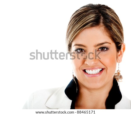 Beautiful business woman smiling - isolated over a white background