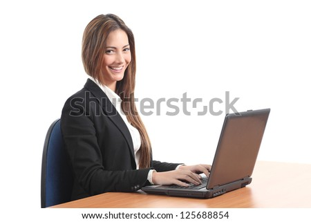 Beautiful  business woman smiling with a laptop and looking at the camera on a white isolated background