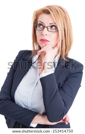 Beautiful business woman thinking and looking up for a new great ideea - stock photo