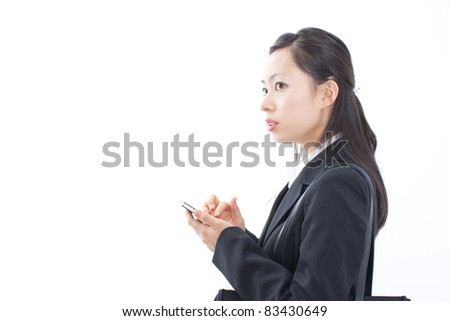 beautiful business woman using smart phone, isolated on white background - stock photo