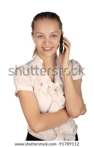 beautiful business woman with a phone, a young girl talking on a cell phone, business woman portrait Caucasian, isolated on white background. isolated image