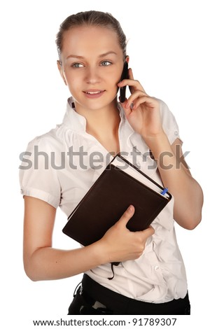 beautiful business woman with a phone and holding notebook, a young girl talking on a cell phone,holding organizer business woman portrait Caucasian, isolated on white background. isolated image