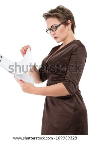 beautiful business woman with clipboard isolated on white background - stock photo