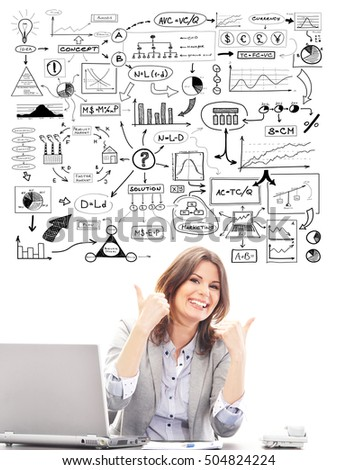 Beautiful business woman with conceptual schemes and diagrams isolated on white.