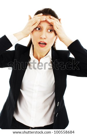 Beautiful business woman with headache holding head in pain over white background - stock photo