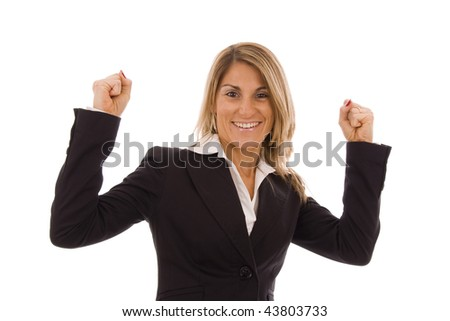 Beautiful business woman  with her arms in the air isolated on white - stock photo