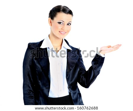 Beautiful business woman with his empty hand. Isolated on a white background. - stock photo