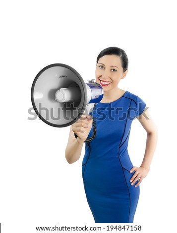 Beautiful business woman with megaphone in blue dress