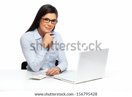 Beautiful business woman working with document in office. - stock photo