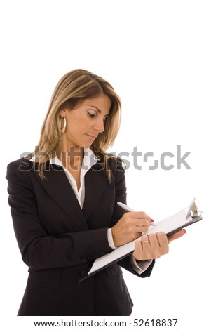 Beautiful business woman writing isolated on white