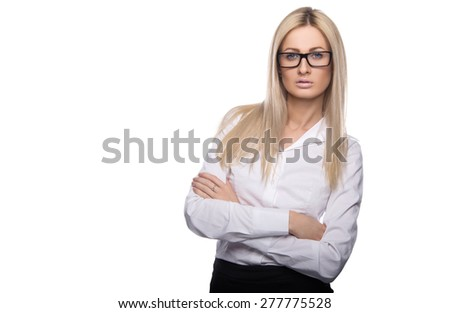 Beautiful business women meet business partners. Business decisions. Office workers. Friendly smiling girl. Isolated - stock photo