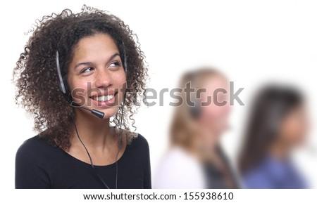 Beautiful businesspeople with headphone - stock photo