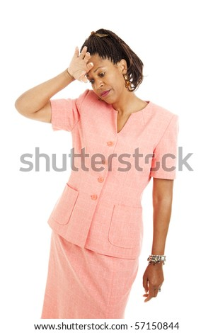 Beautiful businesswoman depressed or exhausted. Isolated on white.