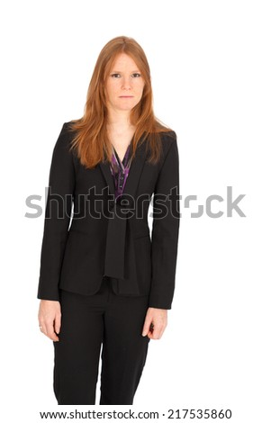 Beautiful businesswoman doing different expressions in different sets of clothes: angry - stock photo