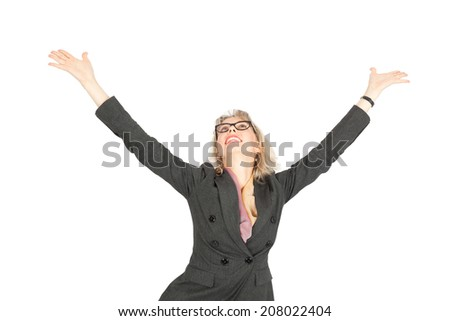 Beautiful businesswoman doing different expressions in different sets of clothes: arms raised