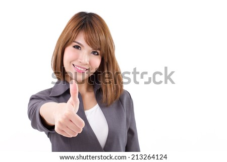 beautiful businesswoman giving, showing thumb up hand gesture on white isolated background, concept of ok, approval, acceptance, validation, success, progress, positive result - stock photo