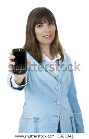 Beautiful businesswoman holding a PDA over a white background