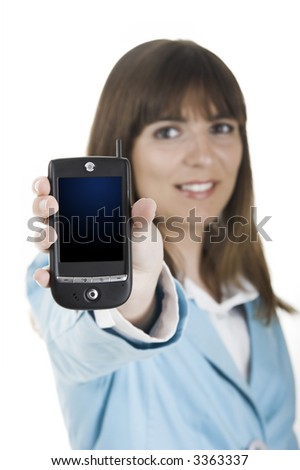 Beautiful businesswoman holding a PDA over a white background (This file include a Path on the pda screan)