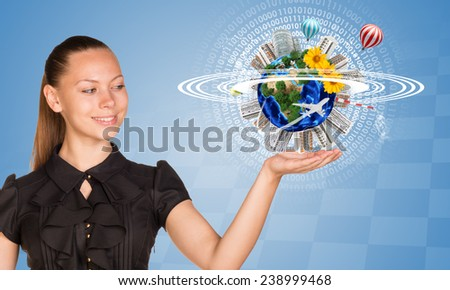 Beautiful businesswoman holding miniature Earth with trees, flowers, industrial and residential buildings, air balloons, airplane and surrounded by rings, part of them composed of digits. Chessboard - stock photo
