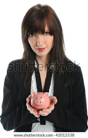 Beautiful businesswoman holding piggy bank
