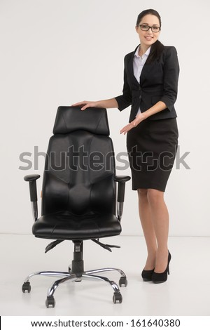 Beautiful businesswoman inviting to apply for vacant position. Concept of HR agency looking for employees  - stock photo