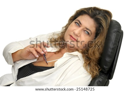 Beautiful businesswoman isolated against a white background