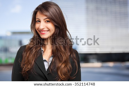 Beautiful businesswoman outdoor - stock photo