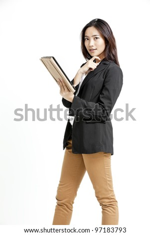 beautiful businesswoman portrait holding tablet on white background