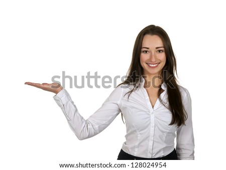 beautiful businesswoman presenting with one hand - stock photo