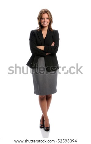 Beautiful businesswoman smiling with arms crossed over white background