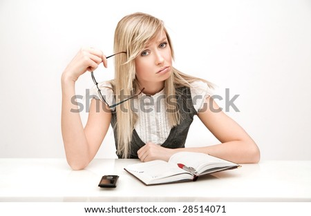 Beautiful businesswoman thinking - stock photo