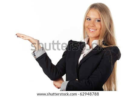 Beautiful businesswoman with an open hand isolated on white background - stock photo